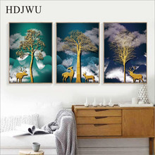 Simple Nordic Canvas Wall Picture Creative Forest Printing Posters Pictures for Living Room Hotel AJ00358