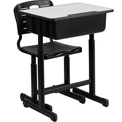 Adjustable Student Desk Chair Set Ergonomic Primary School Kid Black Desk Children Study Writing Homework Table With Pencil Slot