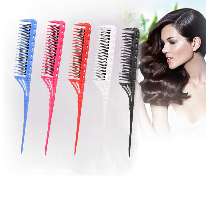 Hot Comb Abody Hair Brush 3-Row Teeth Teasing Comb Detangling Brush Rat Tail Comb Adding Volume Back Coming Hairdressing Combs