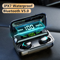 TWS Bluetooth Earphones IPX7 Waterproof Wireless Headphones 9D Stereo Sound With 2200mAh Charging Case Headset with Microphone