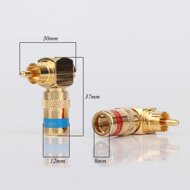 قطعة مرحبا نهاية مطلية بالذهب 90 درجة الزاوية اليمنى Nakamichi سدادة RCA Hifi الصوت RCA موصل Aapter لكابل ربط RCA