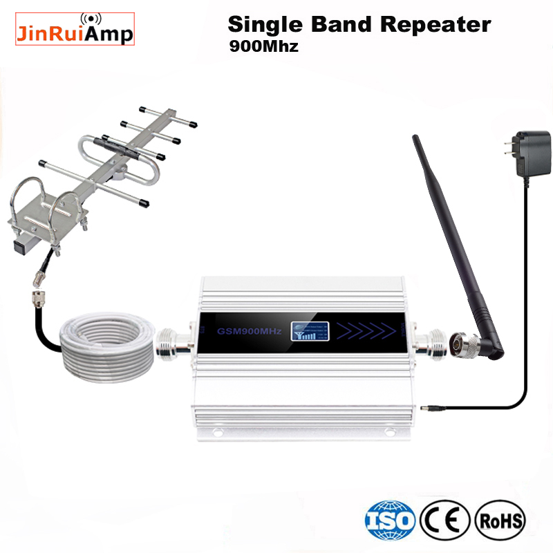 LCD Display Mini GSM Repeater 900MHz Cell Mobile Phone GSM 900 Cellular Signal Booster Amplifier + Yagi Antenna With 10m Cable