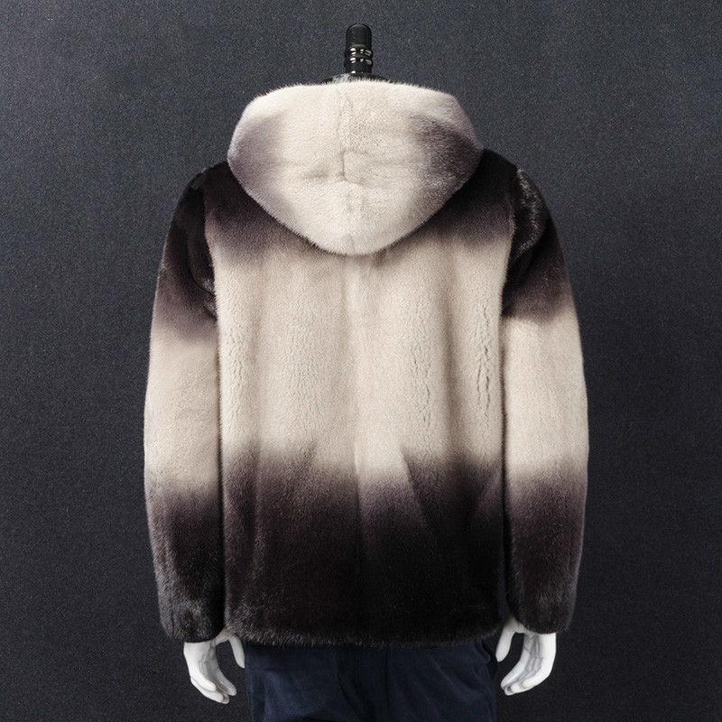 2020 New Real Fur Coat Men Winter Natural Mink Fur Jacket Hooded Warm Luxury Mens Mink Jackets Overcoat 17003J-2 KJ3457