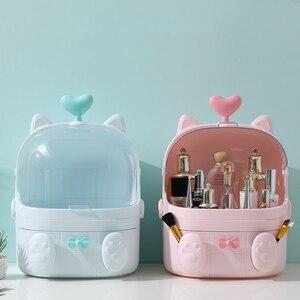 Transparent Makeup Organizer Cute Cosmetic Storage Box Protable Desktop Organizer Creative Drawer Beauty Box For Girl Waterproof