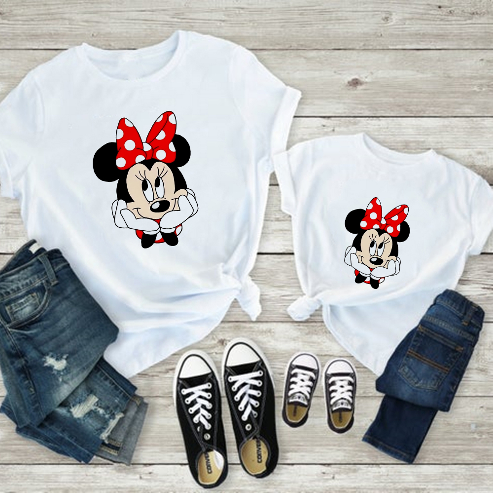 Kawaii Aesthetic T Shirt Minnie Cute Style Korean Family Look Mom And Daughter Dress Mickey Vogue Harajuku Baby Girl Clothes