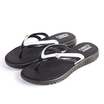 Womens Summer Slip-on Shoes Anti-slip Hard-wearing Fashion Leisure Slippers Beach Swimming Walking Indoor T-tied Flip Flops 2