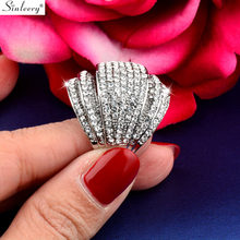 SINLEERY Luxury Big Multi Paved Cubic Zirconia Female Rings Silver Color Party Wedding Jewelry Aneis Feminino JZ178 SSK(China)