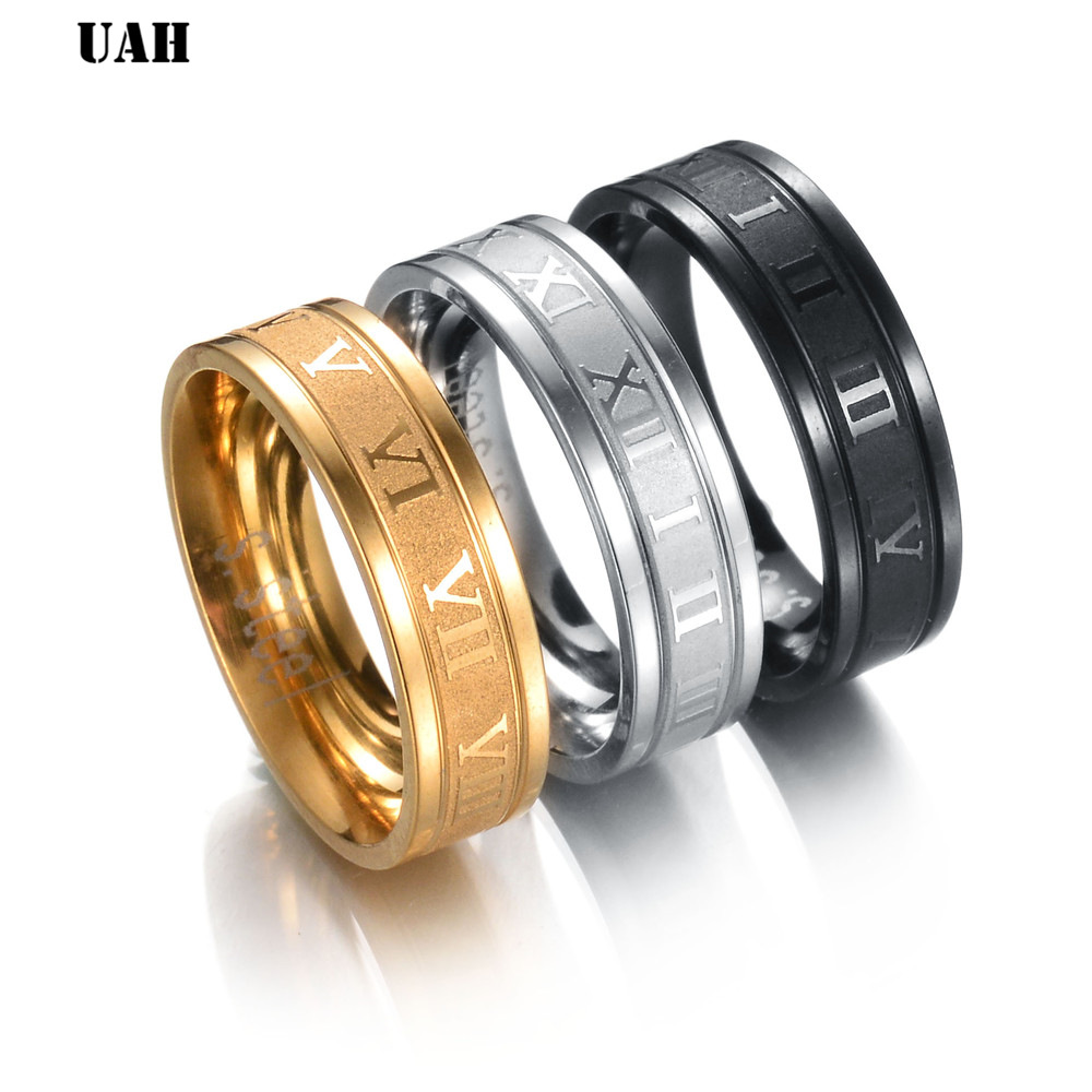 UAH 6 mm 316L Stainless Steel Wedding Band Ring Roman Numerals Gold Black Cool Punk Rings for Men Women Fashion Jewelry
