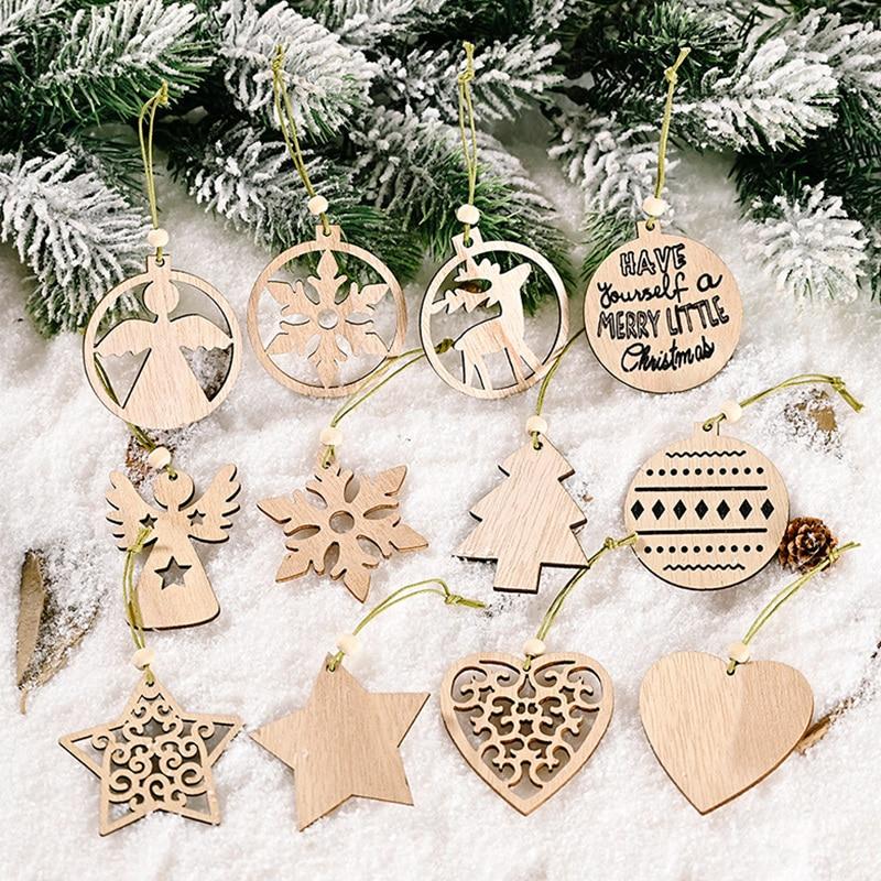 12 unidades/caja de colgantes de madera de Navidad adornos colgantes de árbol de Navidad manualidades de madera para el hogar decoraciones de fiesta de Navidad decoraciones de Año Nuevo