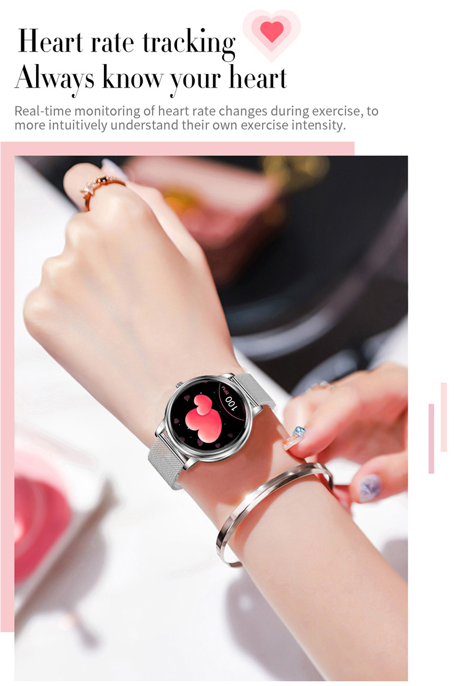Lige mulheres relógio inteligente ip67 à prova