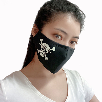 Fashion Men Women Anti-Dust PM 2.5 Mouth Mask Two Mask Filter Anime One Piece Luffy Mouth-muffle Cotton Luminous Masks Cosplay