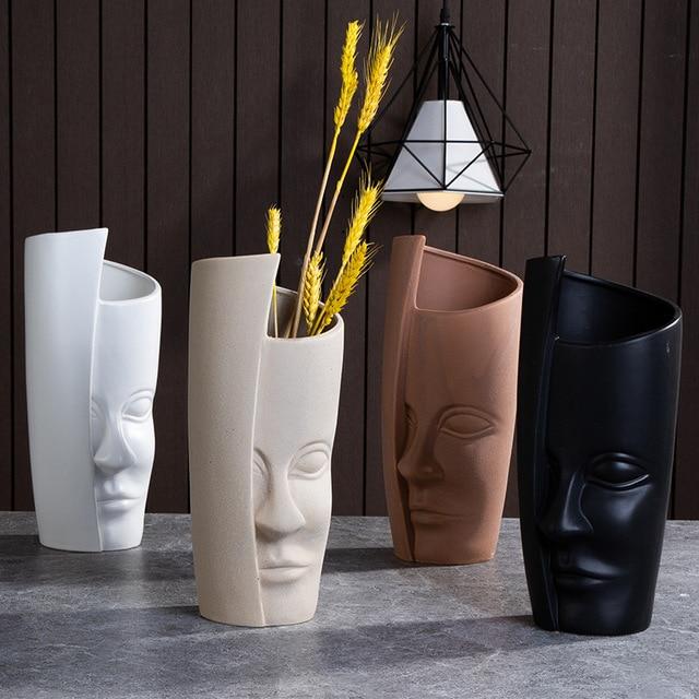 Nordic Ceramic Art Vase Sculpture Crafts Human Face Family Flower Pot Handmade Garden Storage Flower Arrangement Home Decors 2