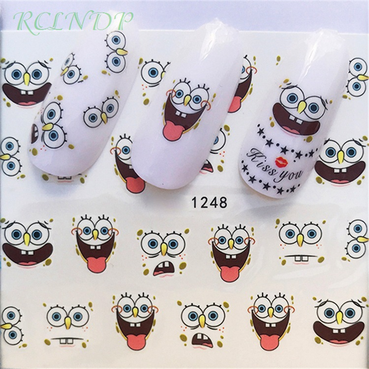 Nail sticker art decoration slider Spongebob adhesive design Water Nails decals manicure lacquer accessoires polish foil