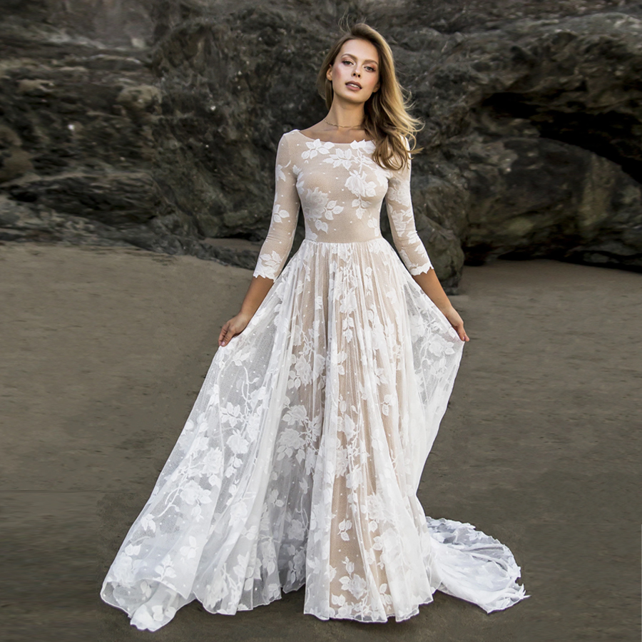 High Neck Champagne/Ivory Lace A-line 3/4 Sleeves Beach Wedding Dress Elegant Bohemian Lace Open Back Bridal Dresses