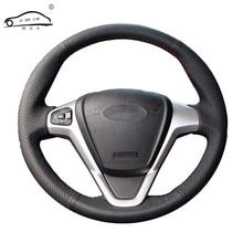 الجلود الاصطناعية عجلة توجيه سيارة جديلة لفورد فييستا 2008 2013 Ecosport 2013 2016/مخصص السيارات teering أغطية الاطارات