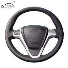 Artificial Leather car steering wheel braid for Ford Fiesta 2008 2013 Ecosport 2013 2016/Custom made auto  teering wheel cover