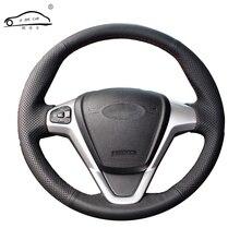 Funda para volante de coche de cuero Artificial, trenza para Ford Fiesta 2013 2019 Ecosport 2013 2018/cubierta para rueda de auto hecho a medida