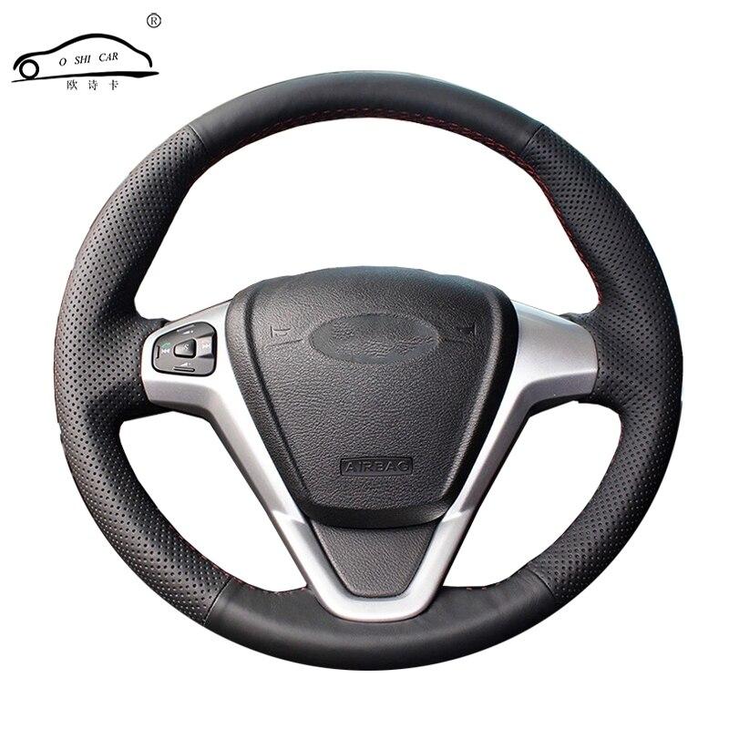 Tresse de volant de voiture en cuir artificiel pour Ford Fiesta 2008-2013 Ecosport 2013-2016/couvre-volant auto sur mesure