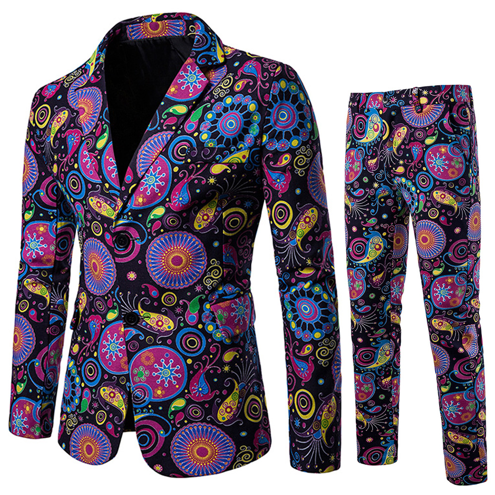 2020 Printing Men Suits 2 Pieces Ethnic Style Casual Slim Fit Two-buttons Wedding Suits Blazers And Pants Terno Costume Homme
