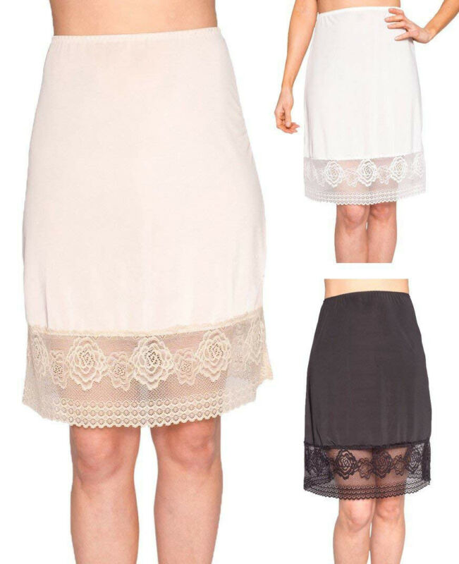 Women's Lace Slip Skirt Extender A-Line High Waist Half Slips Skirts Lengthen Petticoat Underskirt Intimate Ladies