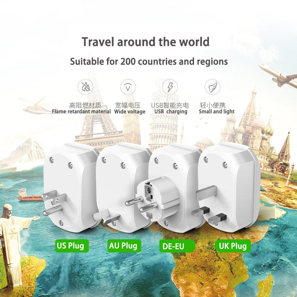 ORICO adaptador Universal EU UK US enchufe internacional AU UK US a EU KR adaptador de corriente para viaje Enchufe europeo, GSM, enchufe inteligente, inglés, ruso, SMS, Control remoto, interruptor de sincronización, controlador de temperatura con Sensor, enchufe de toma de corriente