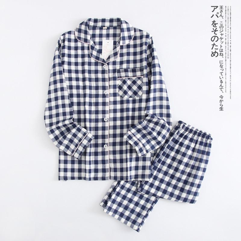 Coupla Pajamas Unisex Adult 2 Pieces Plaid Print Pajamas Set Thin Long Sleeve Cotton Men Sleepwear Causal Spring Male Homewear