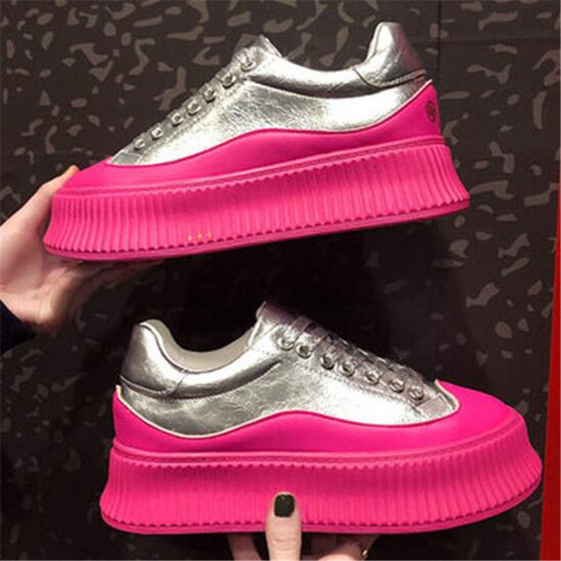 Women Chunky Shallow Sneakers Platform Woman Casual Footwear Female Pink Vulcanized Shoes Dames Dad Shoes Trainers Basket Femme