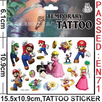 Super Mario Bros Waterproof Tattoo Children Sticker Random 1PCS Action Figure Cartoon Kids Girls Christmas Birthday Gifts prettyangel genuine bandai tamashii nations s h figuarts super mario brothers mario action figure