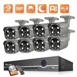 Techage H.265 8-канальная система видеонаблюдения HD 5 Мп AI Smart POE IP-камера наружная водонепроницаемая система видеонаблюдения комплект двусторонне...