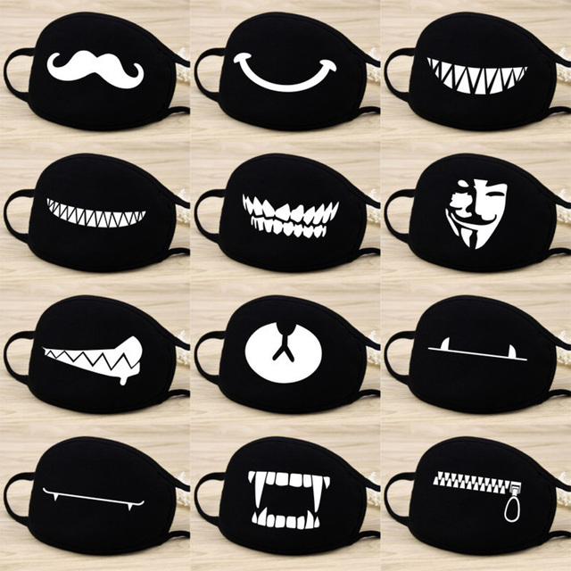 Cotton Dust Mask Cartoon Expression Teeth Muffle Face Respirator Anti Kpop Bear Mouth Mask Fast Shipping 1