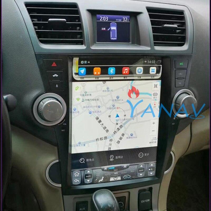 12.1 Android lecteur multimédia stéréo de voiture FOR-TOYOTA highlander 2008-2013 autoradio GPS navigation lecteur MP3 écran vertical