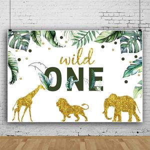 """Image 4 - Cartoon Tropical Jungle Forest Safari Party Photo Backdrop """"Wild One"""" Baby Birthday Party Photography Background For Photostudio"""