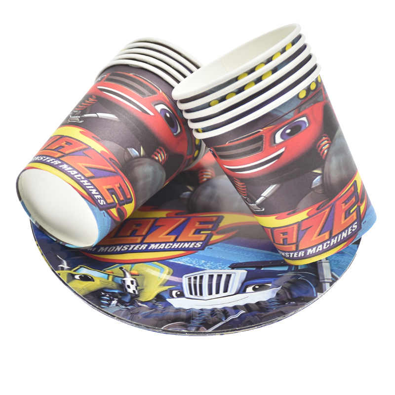 Blaze En De Monster Machines Auto Thema Partij Decoratie Servies Papier Cup Plaat Banner Gift Bag Kids Verjaardagsfeestje Supplies