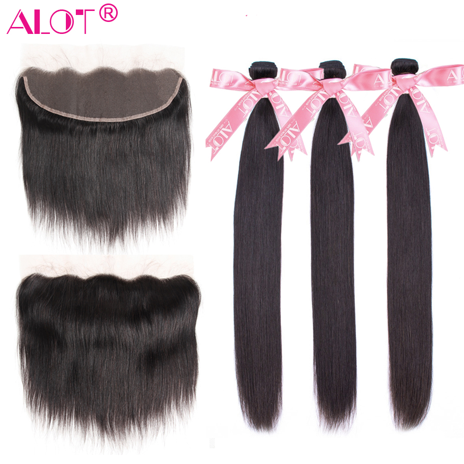 Alot Bundles With Frontal Straight Hair 3 Bundles With Frontal Peruvian Human Hair Bundles With Lace Frontal Closure Non Remy