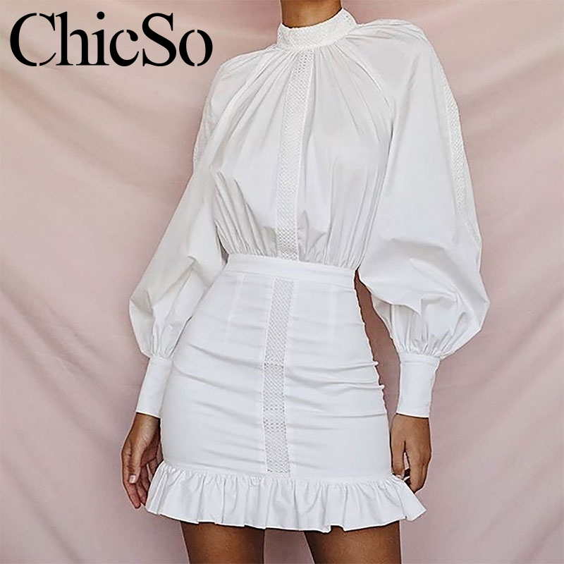 MissyChilli White Ruffle Long Sleeve Shirt Dress Women Elegant Bodycon Office Dress  Autumn Wintersexy Party Mini Dress Festa