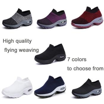 EOFK 2019 패션 가을 여성 플랫폼 신발 여성 레이디 플랫 가을 캐주얼 블랙 발레 신발 편안한 양말 슬립 댄스 신발 1