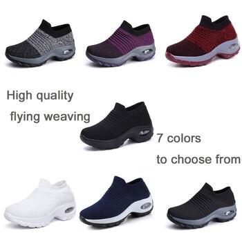EOFK 2019 Fashion Autumn Women Platform Shoes Woman lady Flats Fall Casual Black Ballet Shoes Comfort Sock Slip On Dance Shoes 1