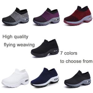 Image 2 - EOFK 2020 אופנה נשים פלטפורמת נעלי אישה גברת דירות בלט מקרית נעלי ארוג גרב נעלי נוחות להחליק על שחור עגול הבוהן