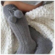 6 Colors.Unisex Children Cherry Hair Ball Knee High Socks.Baby Toddler In Tube Socks