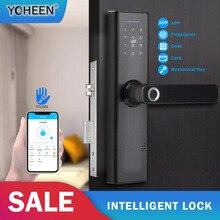 YOHEEN الذكية قفل ببصمة الأصبع بطاقة التعريف بالإشارات الراديوية رمز الإلكترونية قفل باب رقمي TTLock بلوتوث