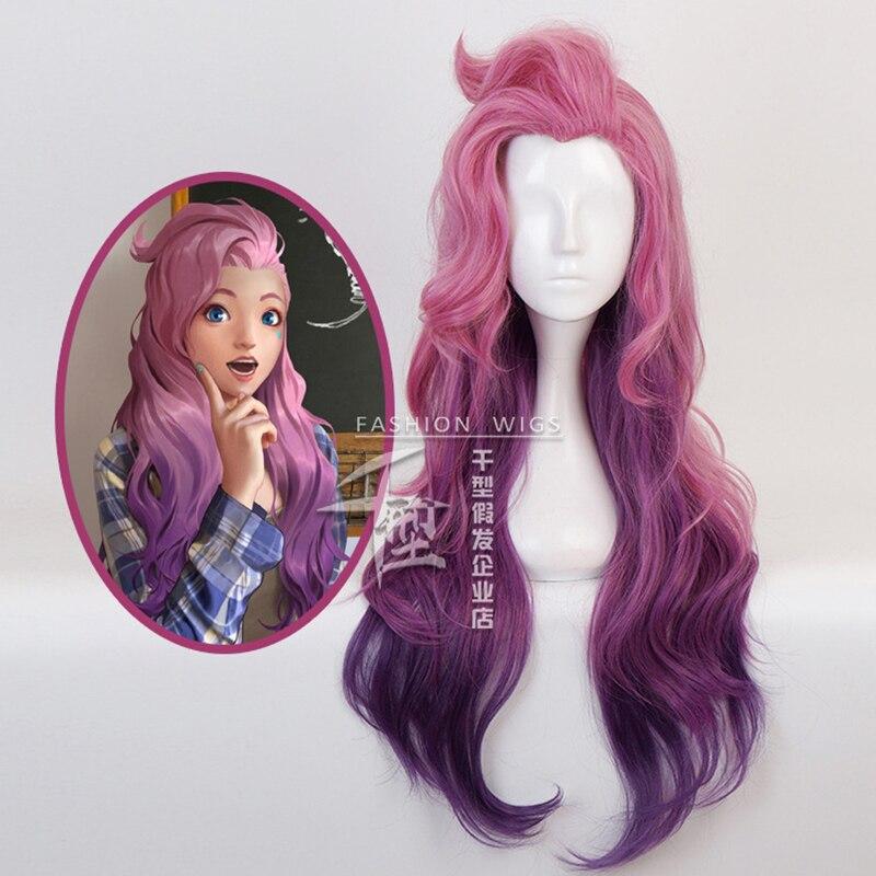 Jogo seraphine onda encaracolado peruca cosplay traje kda resistente ao calor do cabelo sintético feminino rosa misturado roxo perucas longas