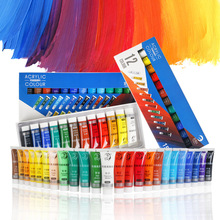 12/24 Colors 15ML Tube Professional Acrylic Paint Set For Fabric Clothing Nail Glass Drawing Painting For Kids Art Supplies