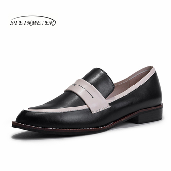 Women flats summer spring single oxford shoes 2019 genuine leather flat heels fashion shoes for woman brogues slipon shoes