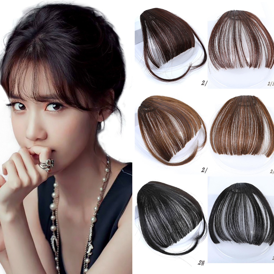 DIFEI Front False Fringe Thin Blunt Clip In Bangs Hair Extension Synthetic False Hair Piece For Women High Temperature Fiber