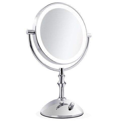 8 Polegada 2 Face de Metal Espelho de Maquiagem Espelho USB Recarreg vel Desktop 3X