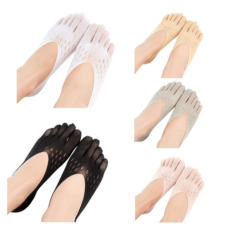 Five-Toe 5 Colors Ladies Velvet Summer Mesh Breathable Stealth Shallow Mouth Silicone Boat Socks Plum Type