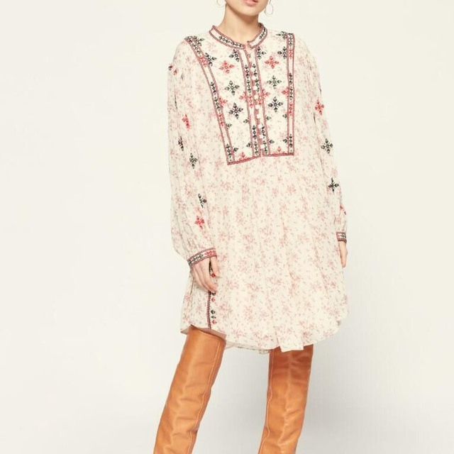 2021 New Early Spring New Retro Lantern Long Sleeve Fashion Loose Floral Print Embroidery Dress Women 2