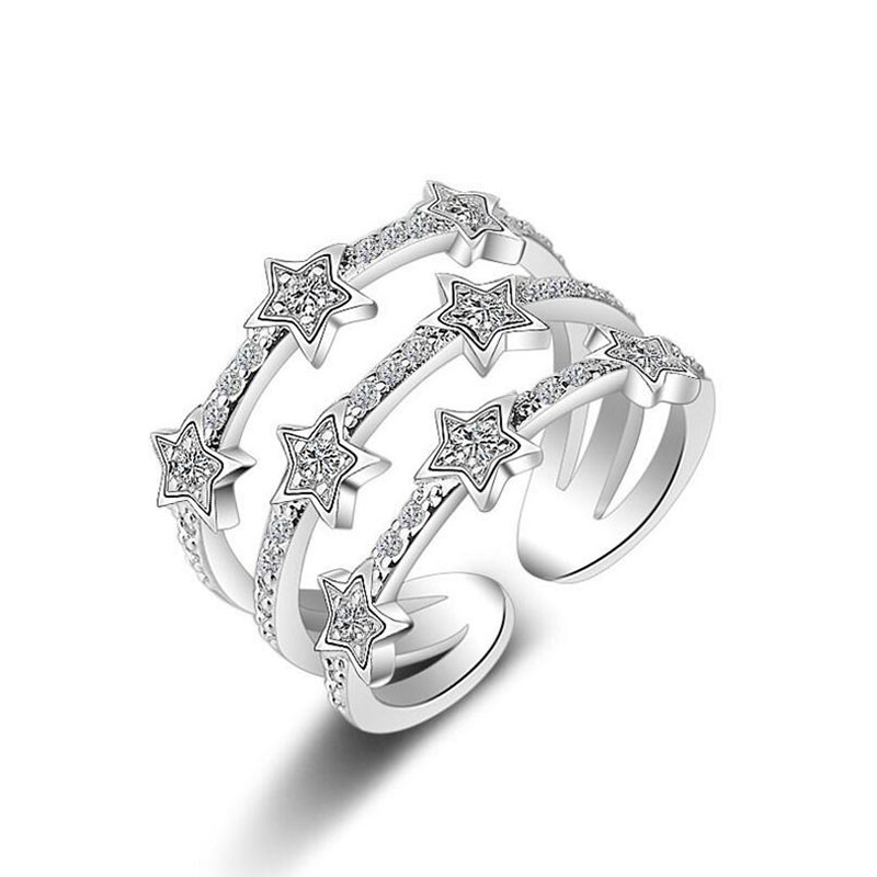 Hot Fashion 925 Sterling Silver Multi-Layer CZ Zircon Rings For Women Stackable Star Anillos Resizable Rings Bague