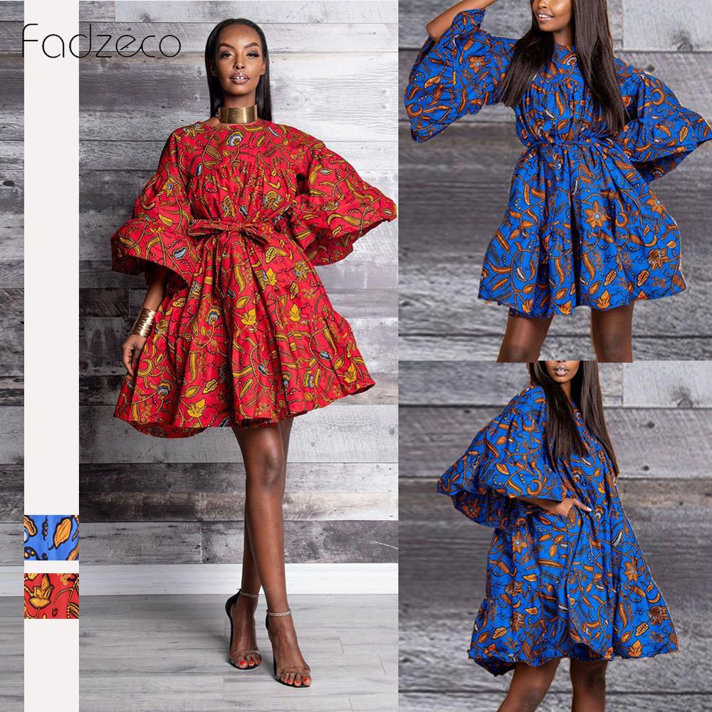 Fadzeco African Dress For Women Tribal Print 3/4 Sleeve Ruffle Mini Bubble Dress Loose Summer Casual Flared Hem African Clothes