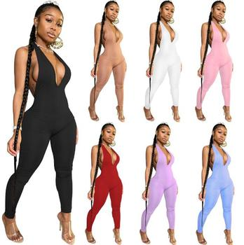 Jumpsuit hot sale fashion sexy open back deep V halter jumpsuit trousers street nightclub women's party jumpsuit white open back hollow design halter sleeveless sexy jumpsuit